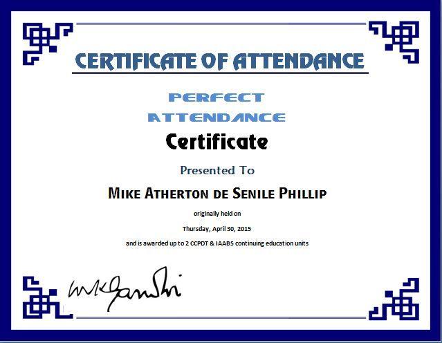 Perfect Attendance Certificate Template Microsoft Templates - attendance certificate template