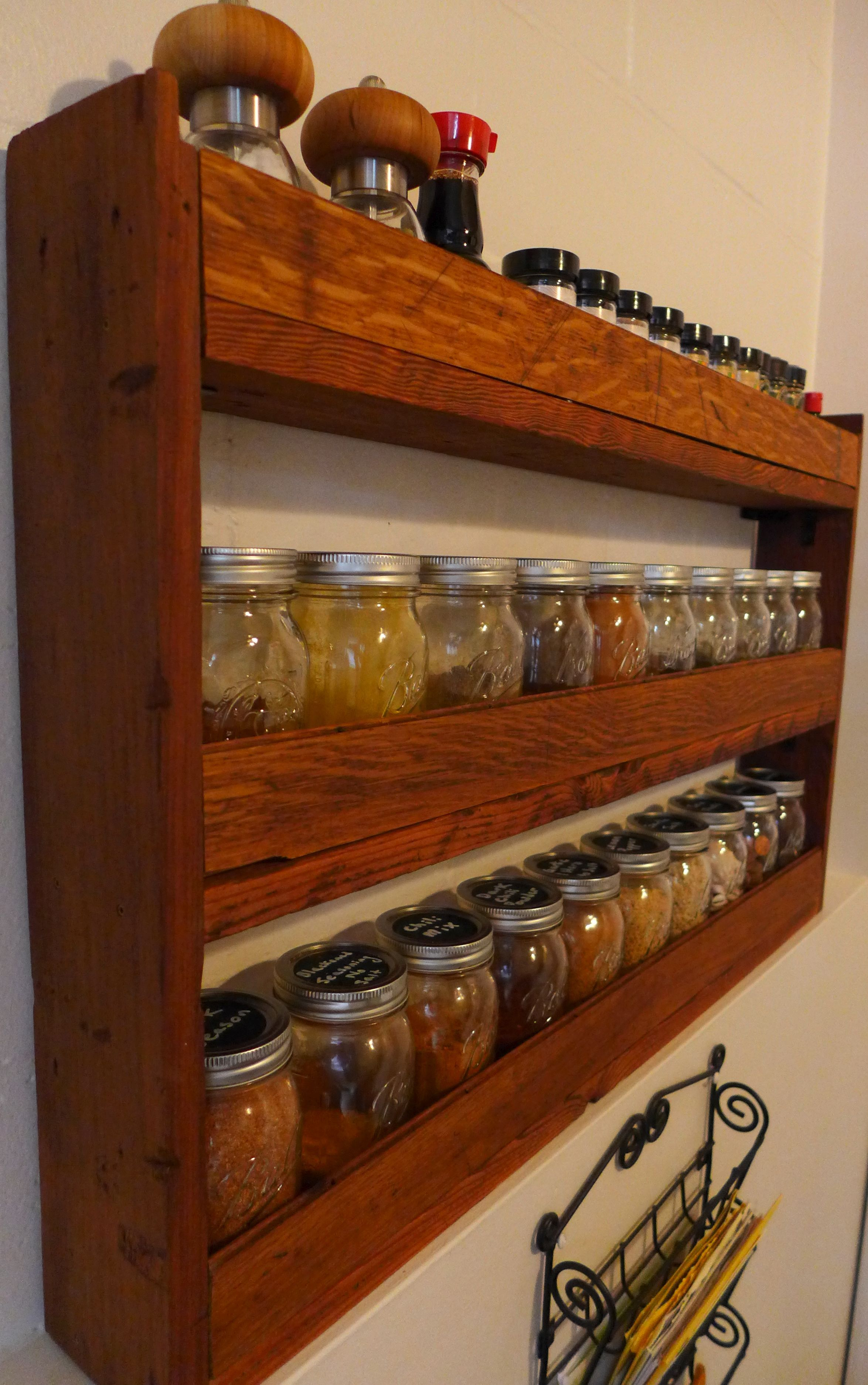 Diy Spice Rack For Pint Mason Jars Made From Reclaimed