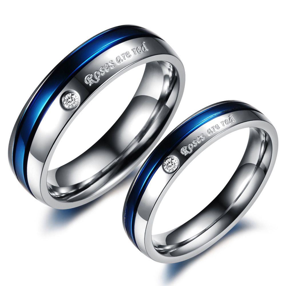 mens titanium wedding rings Blue Wedding Rings for Women Blue CZ Diamond Titanium