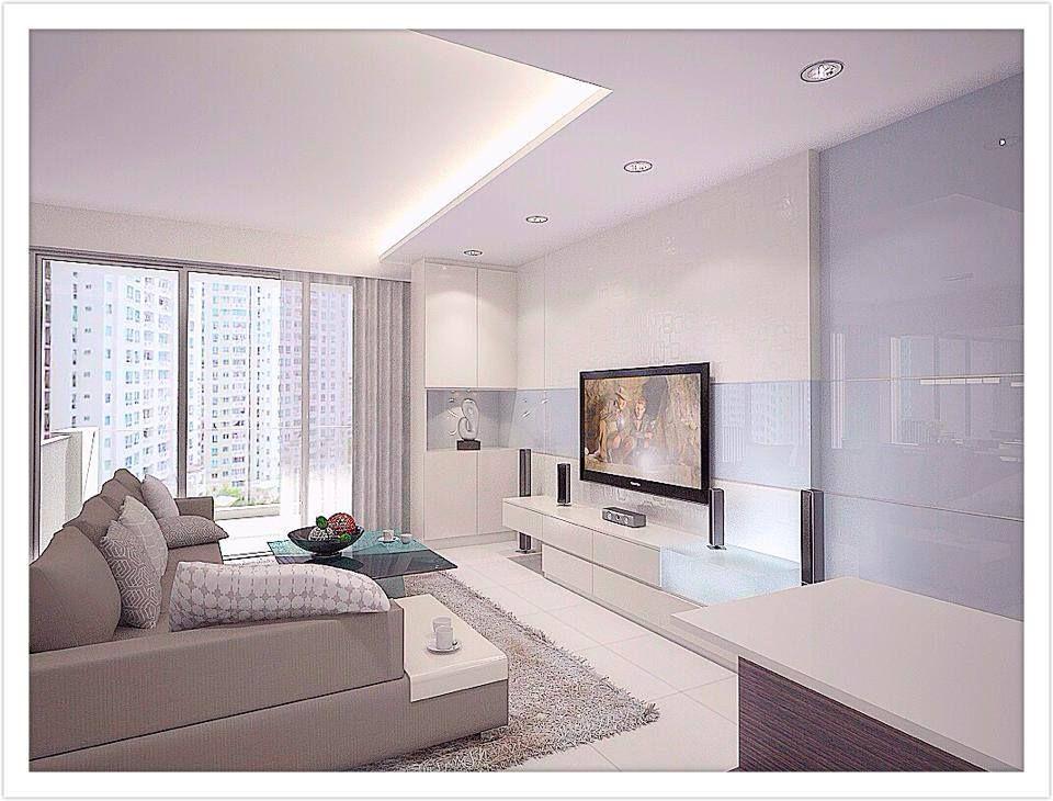 Simple Clean All White Design - Interior Design Singapore Living - all white living room