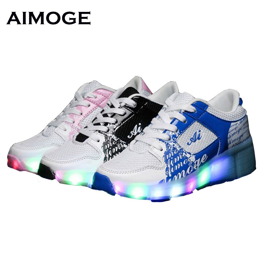 New summer shoes led light up sneakers with wheels roller skate shoes children sport shoes kids zapatillas con ruedas wheelies pub date feb 10 2017