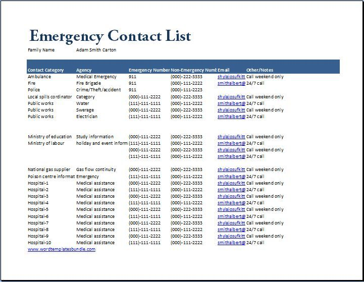 Emergency Contact List Template at wordtemplatesbundle - contact list template
