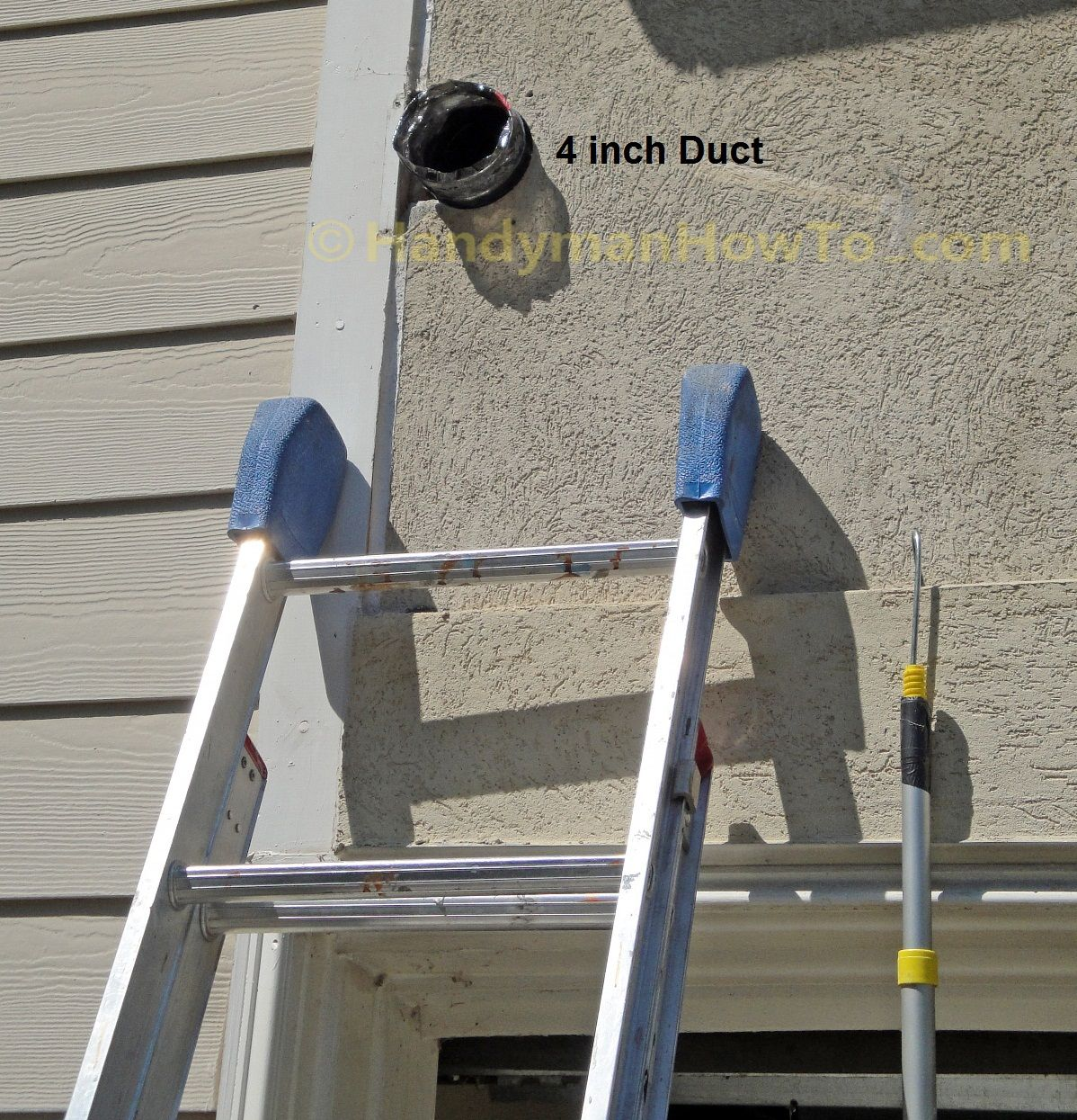 Bathroom vent fan installation flex duct pulled through the exterior wall