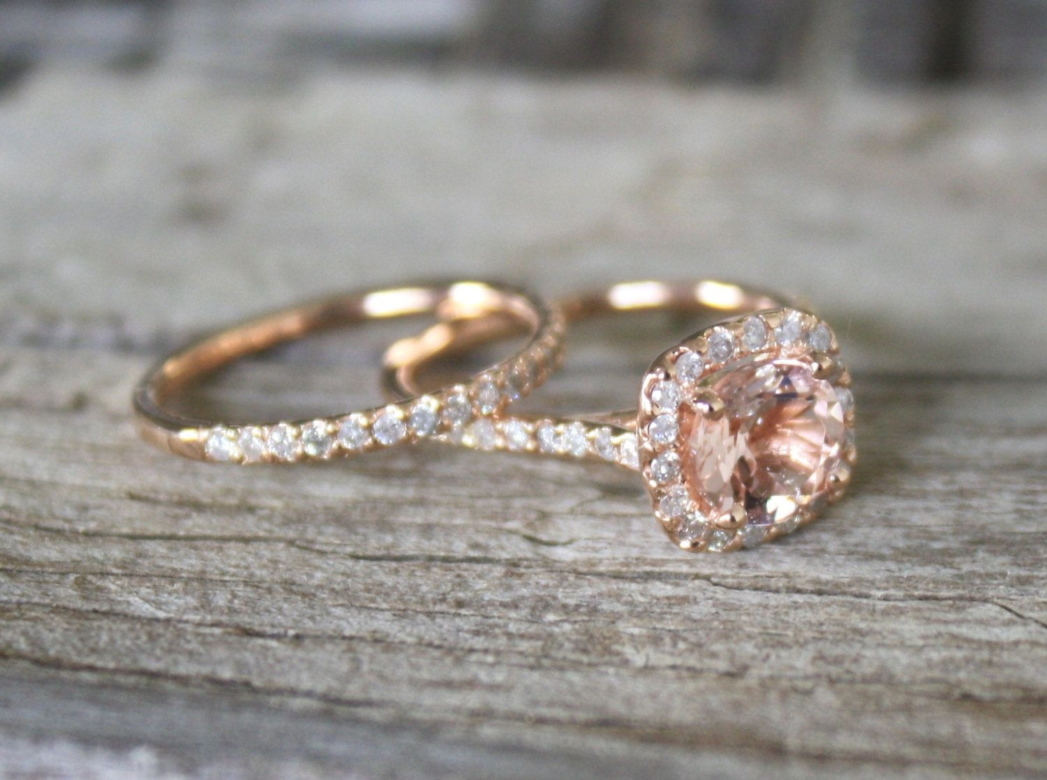rose gold wedding rings Morganite Engagement Ring Set in 14K Rose Gold Halo Diamond Setting 1 50 via Etsy