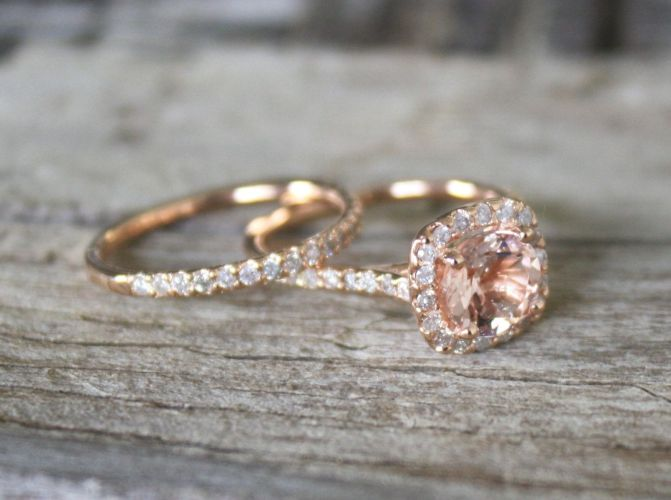 gold wedding rings Morganite Engagement Ring Set in 14K Rose Gold Halo Diamond Setting 1 50 via Etsy