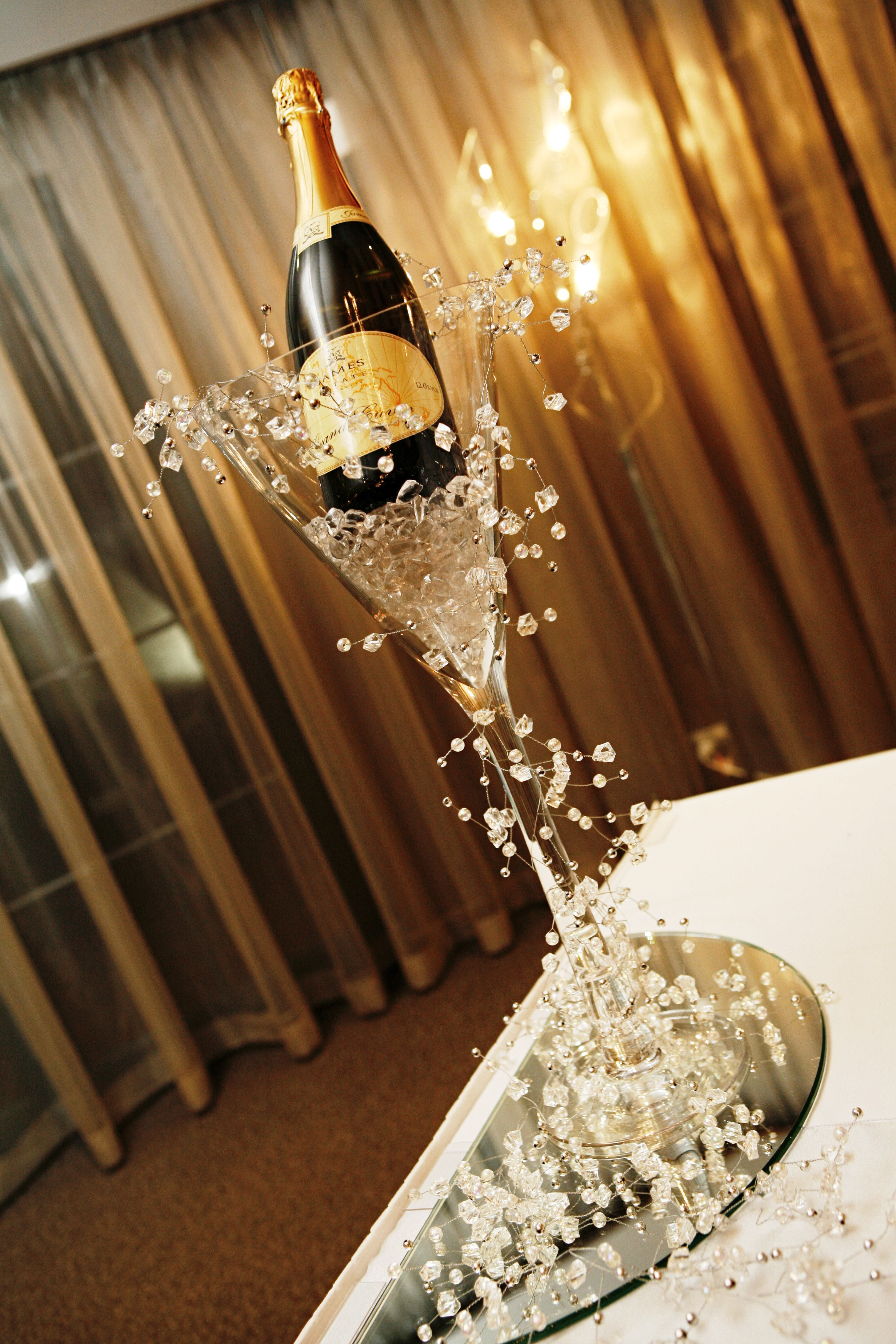 Giant Wine Glass Decorations Large Martini Vase With Ice And Champagne With Silver