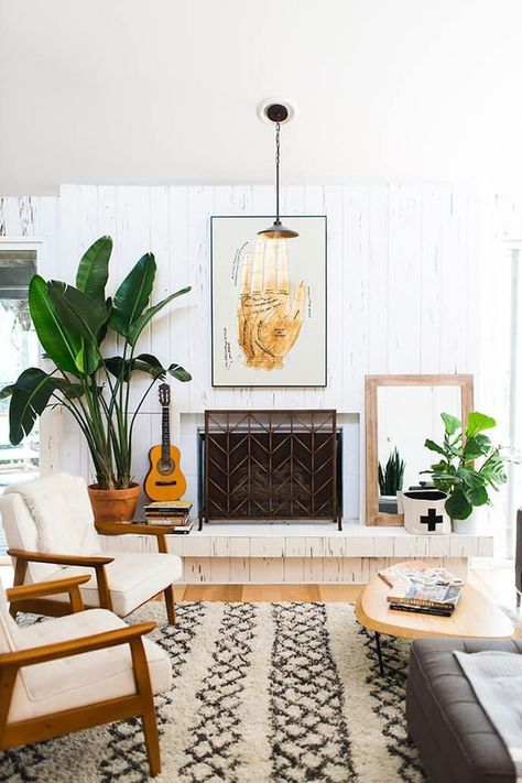 Mid-century modern living room with stone fireplace, neutral - mid century modern living room