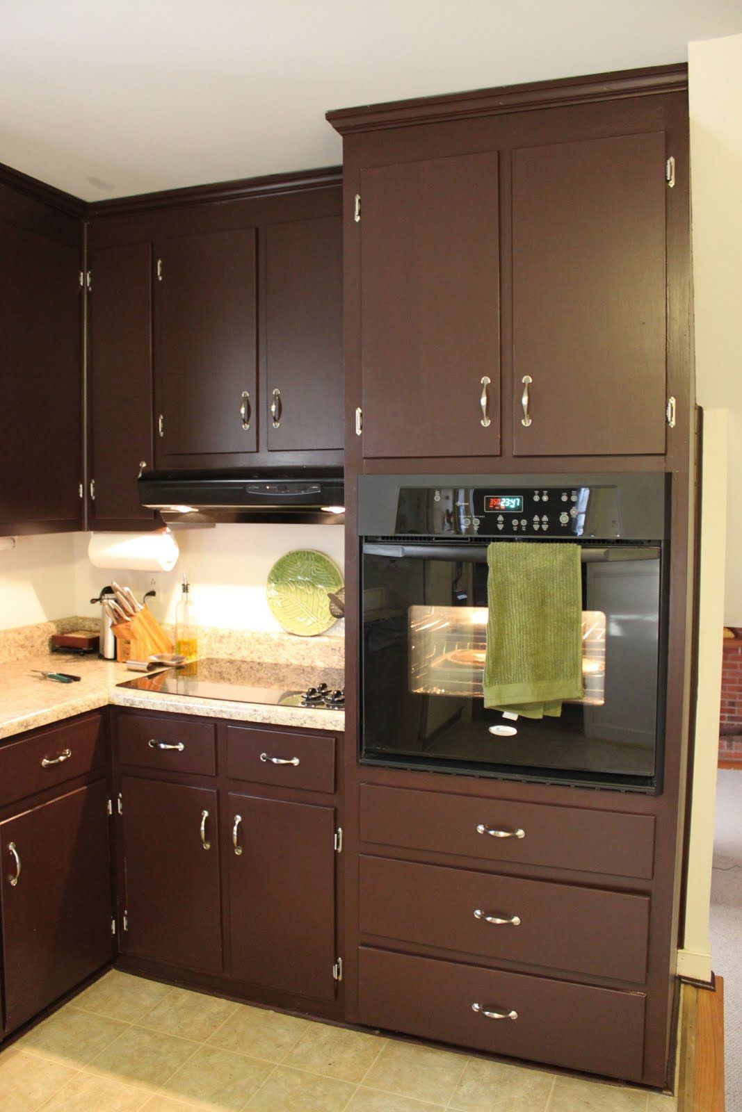 Brown Cabinet Kitchen Brown Painted Kitchen Cabinets And Silver Hardware Looks