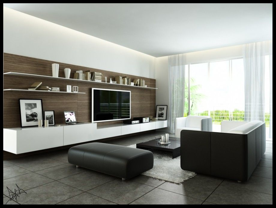 Modern Monochromatic Living Room With Wood Wall Panel And Dark - wood wall living room
