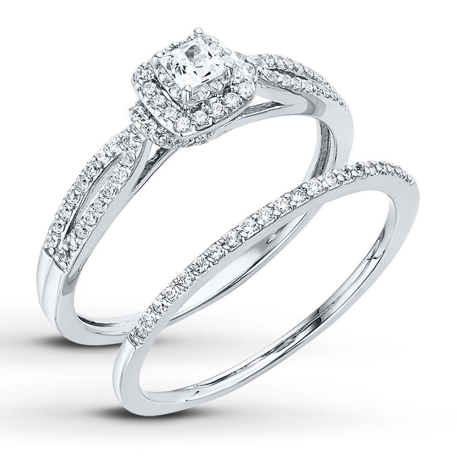 jared wedding bands Diamond Bridal Set 1 2 ct tw Princess cut 14K White Gold Jared