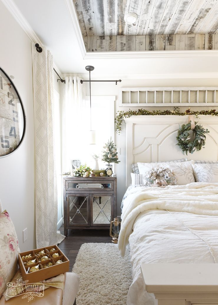 French Country Farmhouse Bedroom decorated for Christmas HOLIDAY - farmhouse bedroom ideas