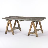 Rustic wood dining table with sawhorse legs. Wood varies ...
