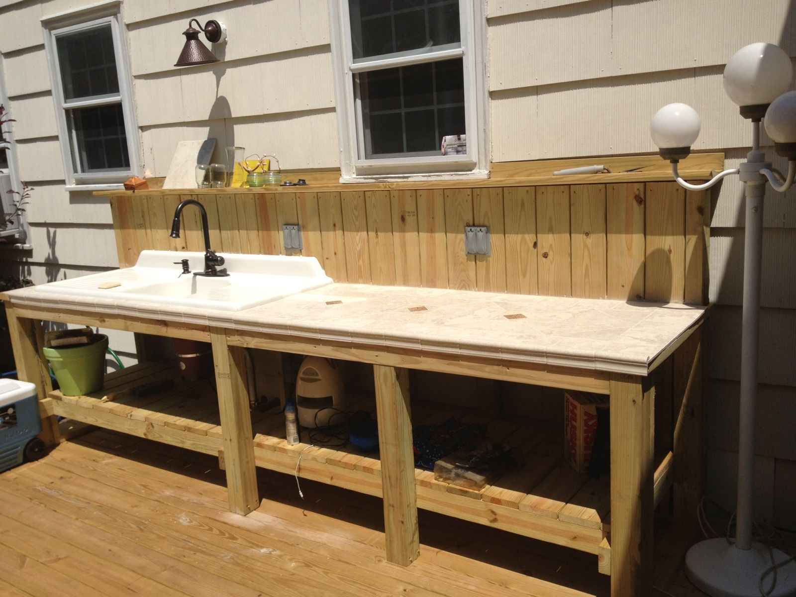 Waterproof Wood Countertop Outdoor Sink And Countertop Area Complete With Garbage