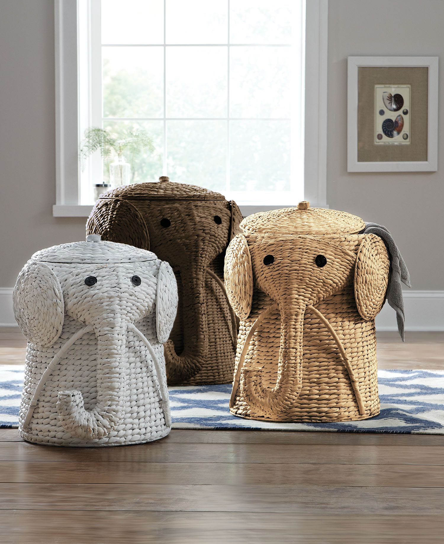 Animal Wicker Hamper Keep Dirty Laundry Hidden In A Fun Elephant Hamper
