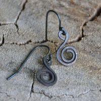 Little Black Steel Wire Swirl Earrings by FlybirdDesigns ...