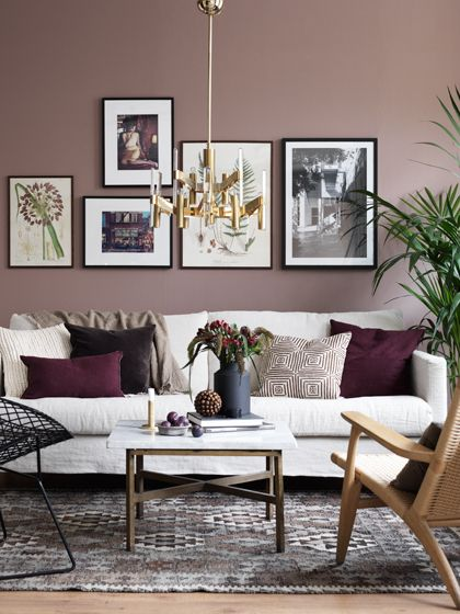 mauve gray color Classic mauve, used here with shades of gray - wall colors for living rooms