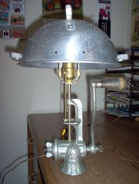 I like making table lamps from vintage meat grinders. I ...