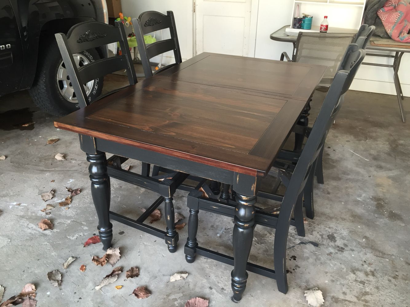 painted oak table refinish kitchen table Refinished oak table base and chairs chalk painted Black Velvet and sealed with polycrylic