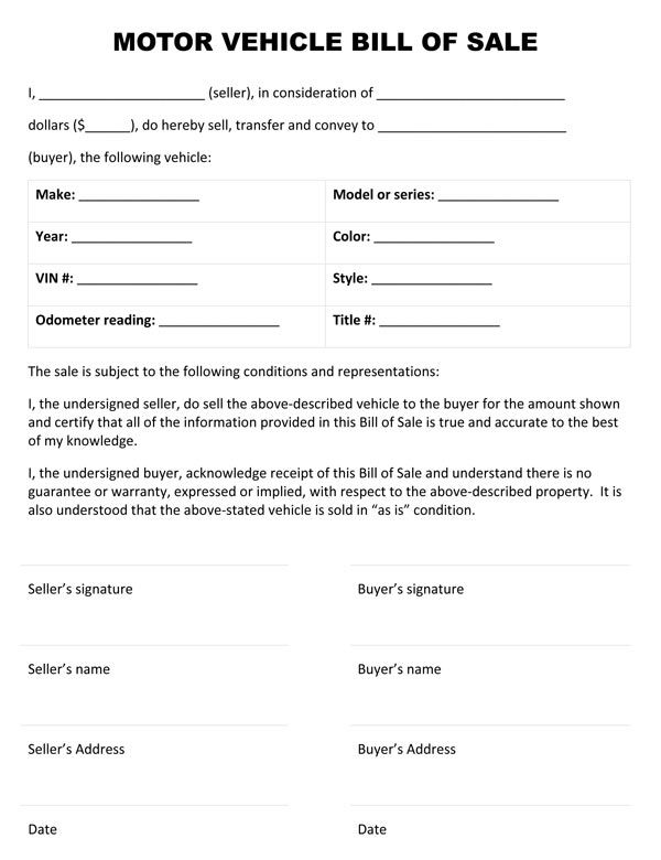 Printable Sample Auto BIll Of Sale Form Free Legal Forms Online - bill of sale generic