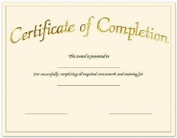 Create Free Certificate Completion Fill in the blank - certificate template blank