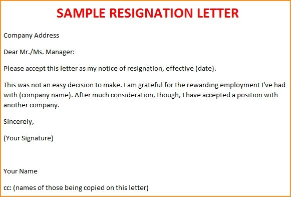 Image result for how to write a resignation letter examples - example of resignation letter