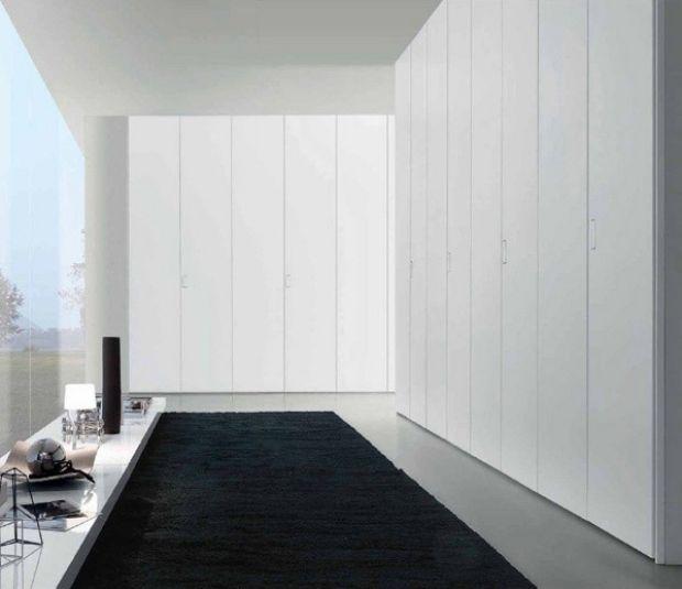 Modernes Schranksystem Puristischer Stil Weiss Deckenhoch Schränke Einrichtungsideen  Schlafzimmer Kleiderschrank Design