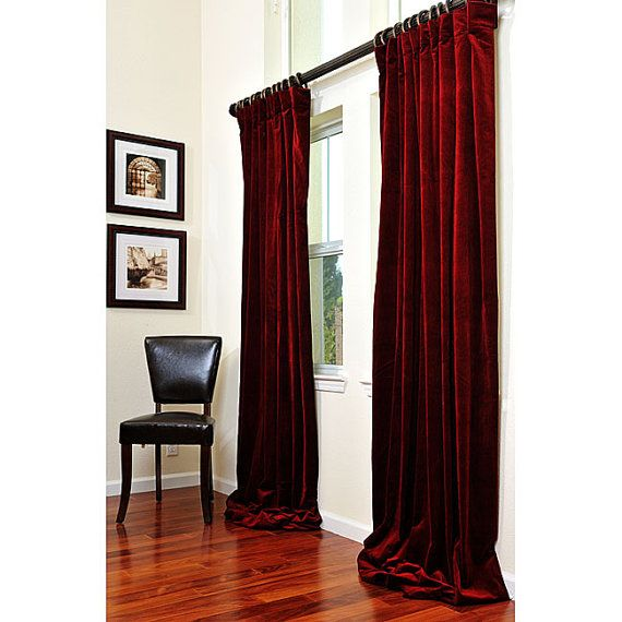 Wine Red Velvet Custom Made Curtains all size by Tailor2U on Etsy - red curtains for living room