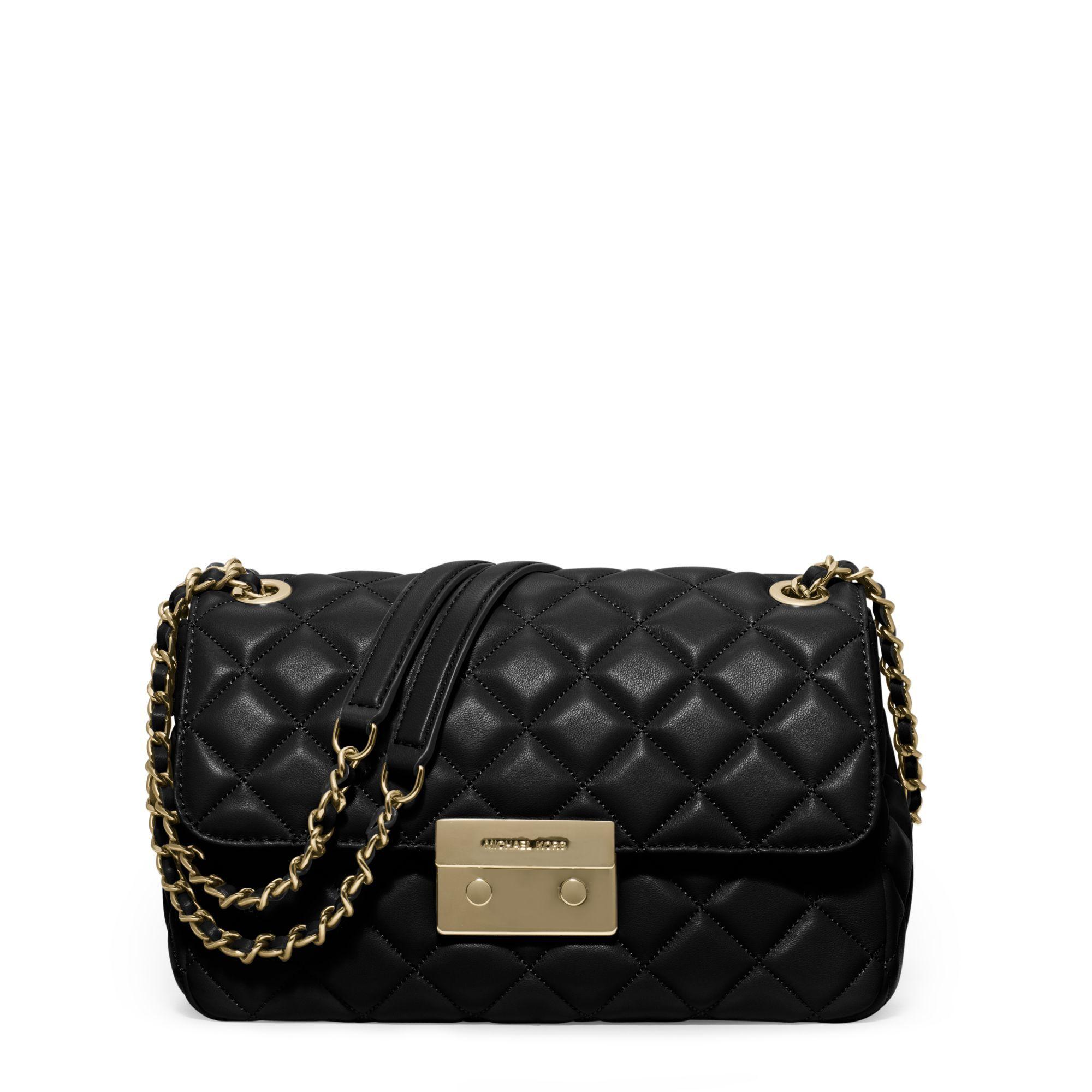 Michael kors black sloan large quilted leather shoulder bag lyst