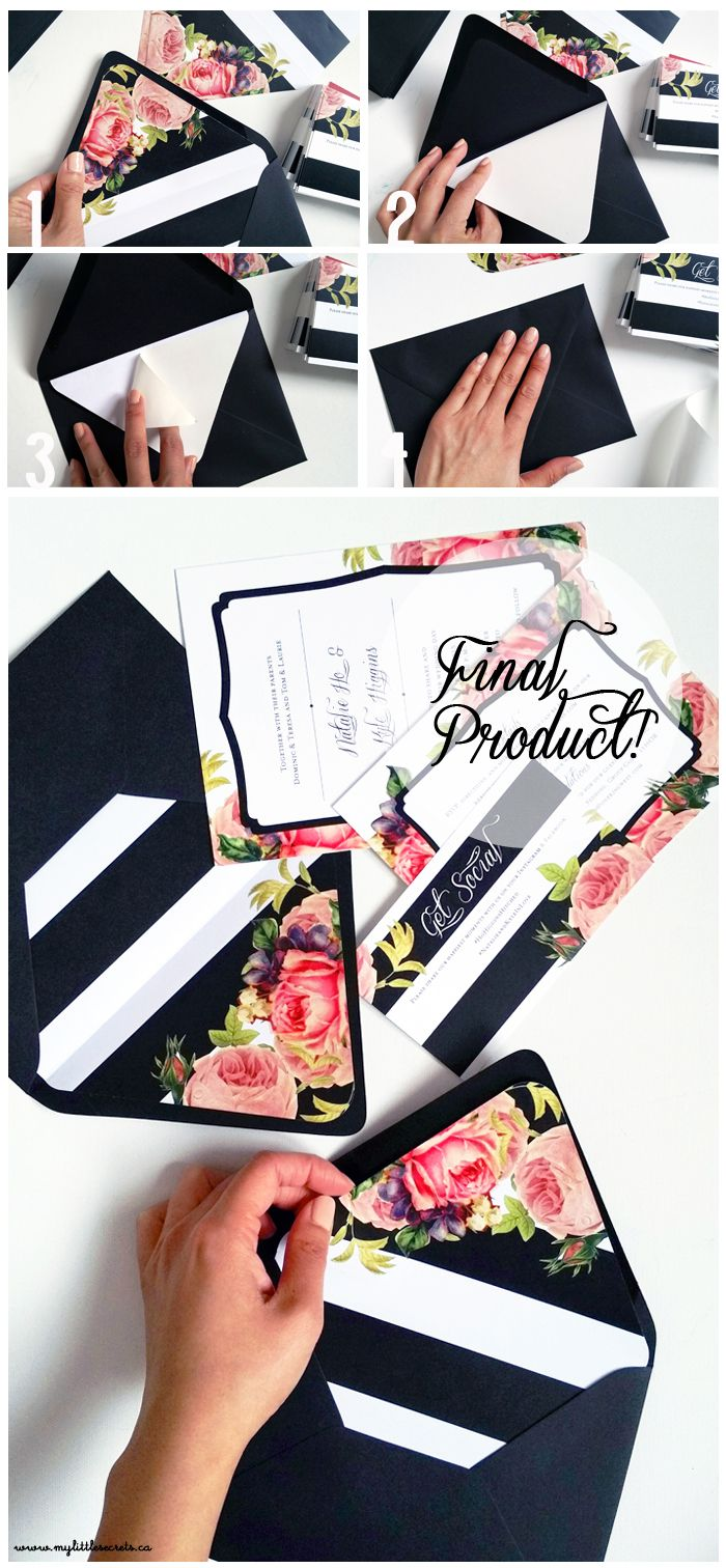 wedding invitations envelopes DIY Wedding Invitation Envelope Liners Tutorial from My Little Secrets