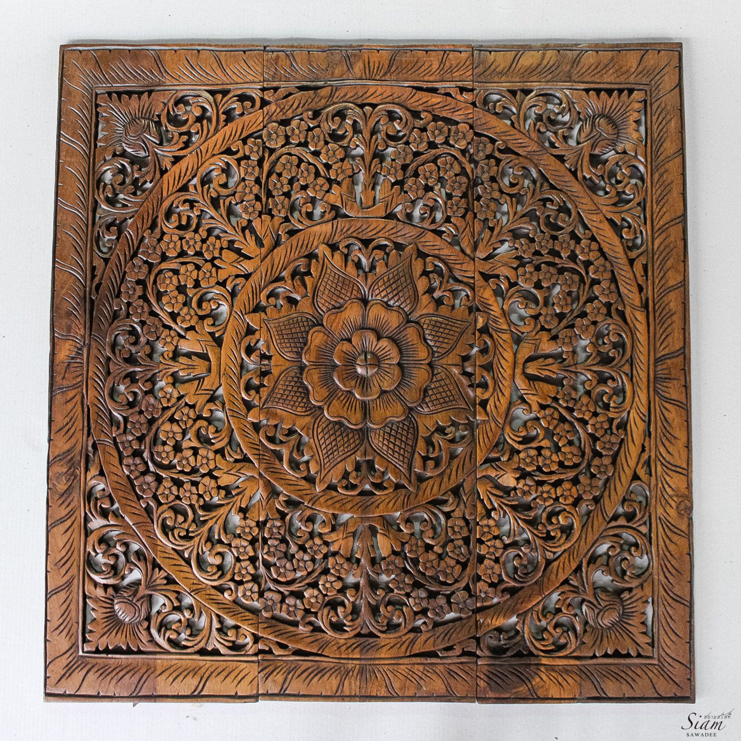 Carved Wood Wall Hanging Wall Art Decor Carved Wood Panel Asian Home Interior