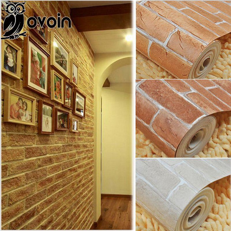 Cheap 3d Brick Wallpaper Red Brown Beige 3d Embossed Brick Wallpaper Roll Rustic