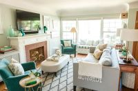 Seafoam, Turquoise, Gray, and White Living Room with