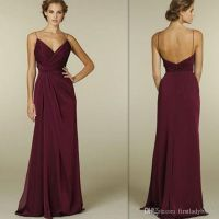 Burgundy Bridesmaid Dresses 2017 Cheap Sexy Deep V Neck ...