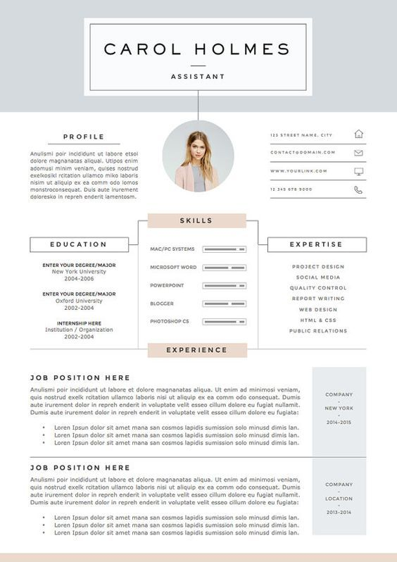 4 la page modèle de curriculum vitae et par TheResumeBoutique - fashion resume templates