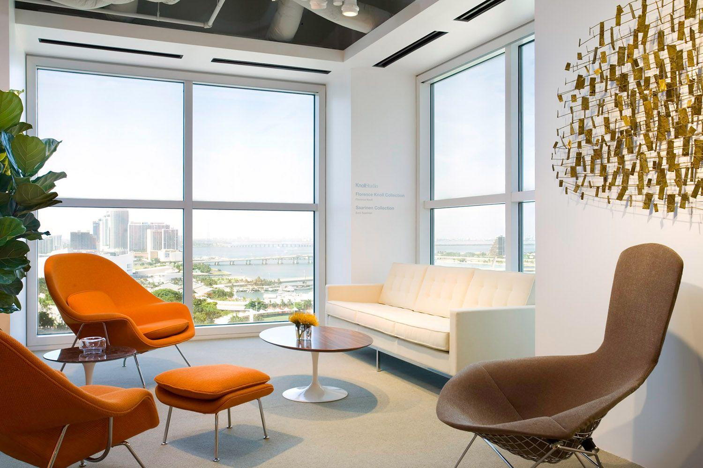 Florence knoll sofa bertoia bird lounge saarinen womb chairs and saarinen coffee table modern living room
