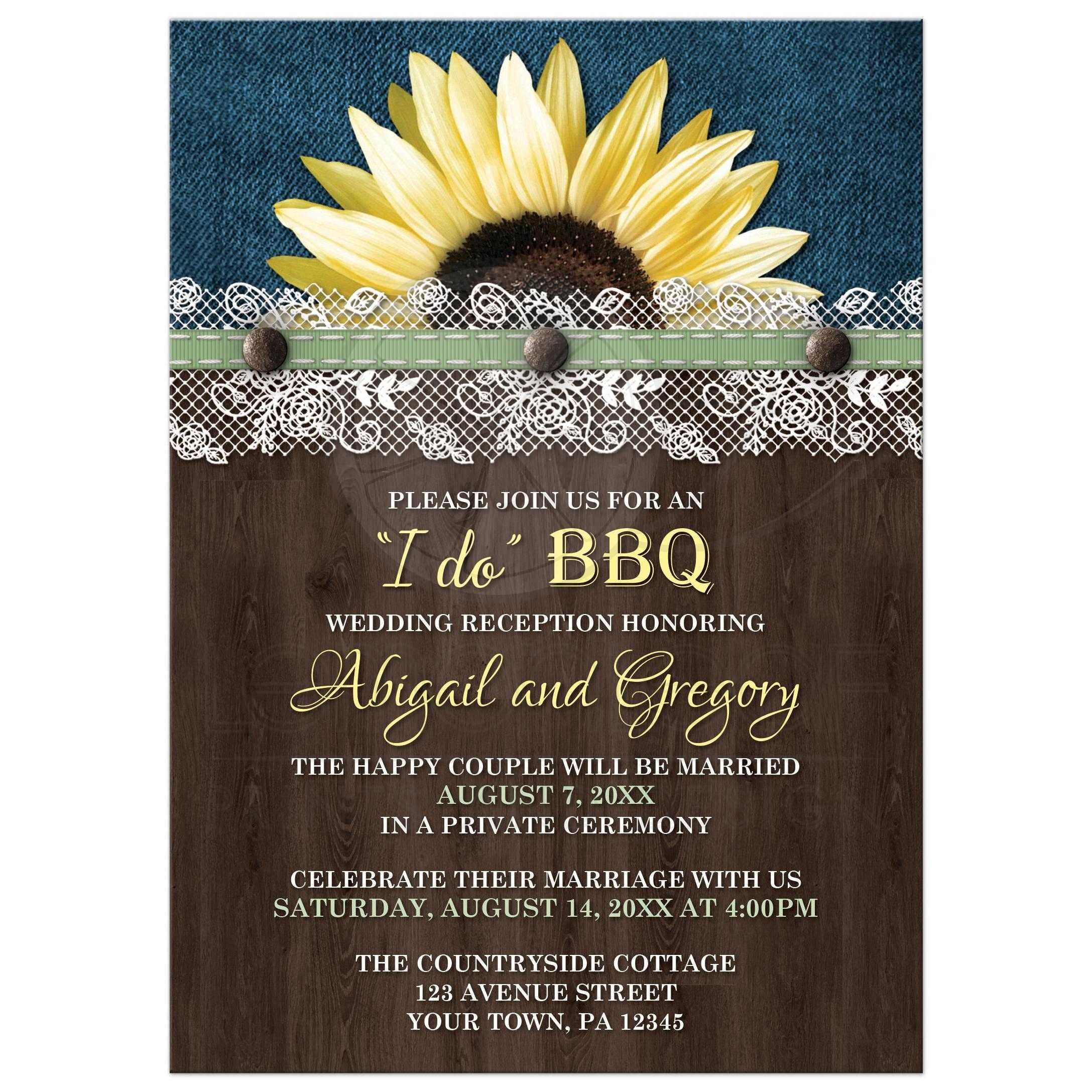 reception only wedding invitations Reception Only Invitations Sunflower Denim Wood Lace I Do BBQ