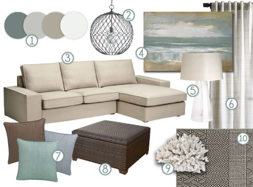 mood board cool, neutral earth tones with a definite coastal vibe - beige couch living room