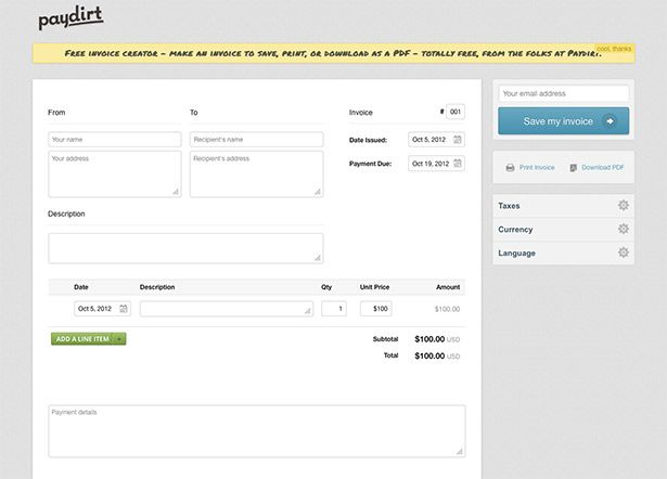 paydirt - Free invoice creator u2013 make an invoice to save, print - online invoice maker free