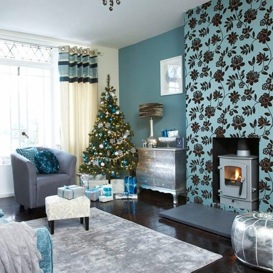 Festive teal and silver living room scheme Silver highlights - teal living room ideas