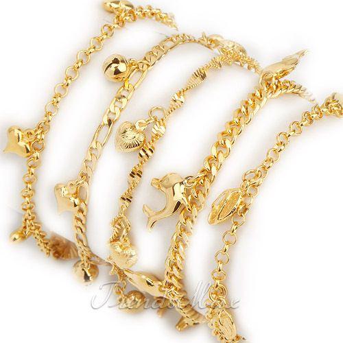 Womens Girls Bracelet 18k Gold Filled Charm Bracelet Link