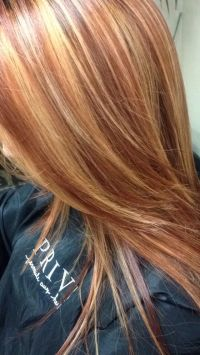 Copper red hair color with golden blonde highlights ...