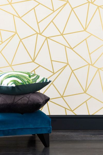 Buy Gold Detail Geometric Wallpaper from the Next UK online shop | wallpapers | Pinterest ...