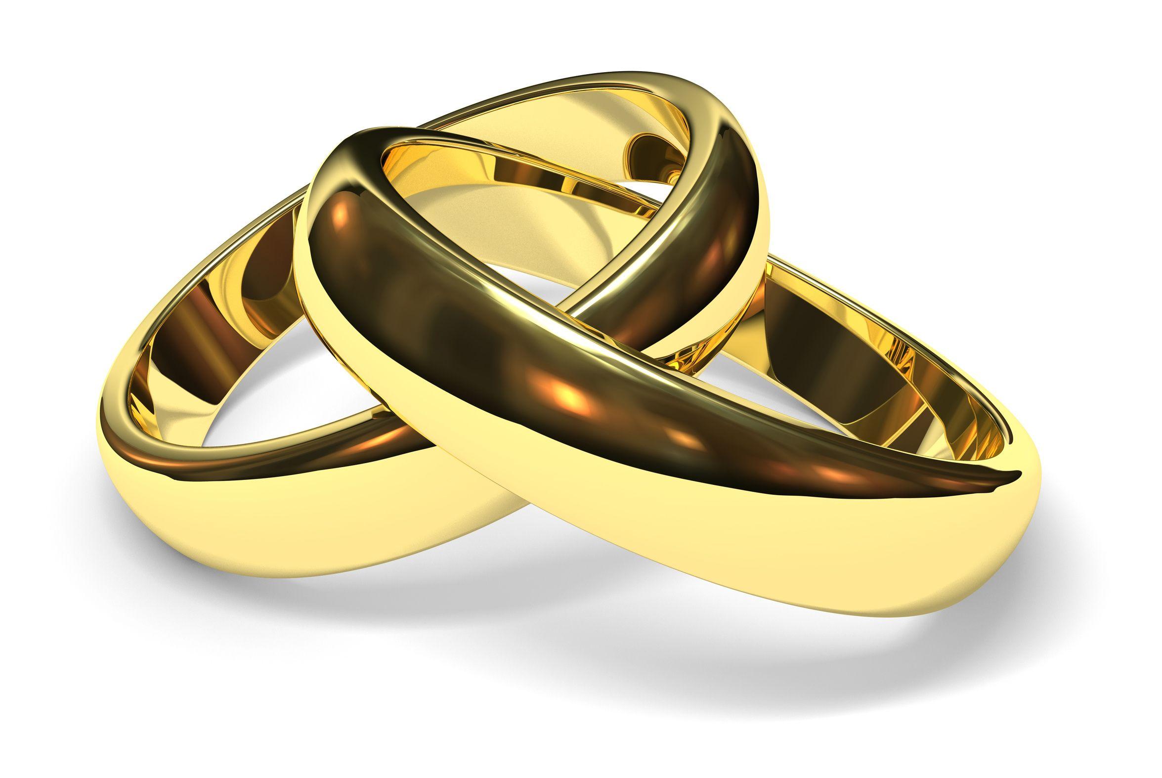 gold wedding rings linked gold wedding rings on white background