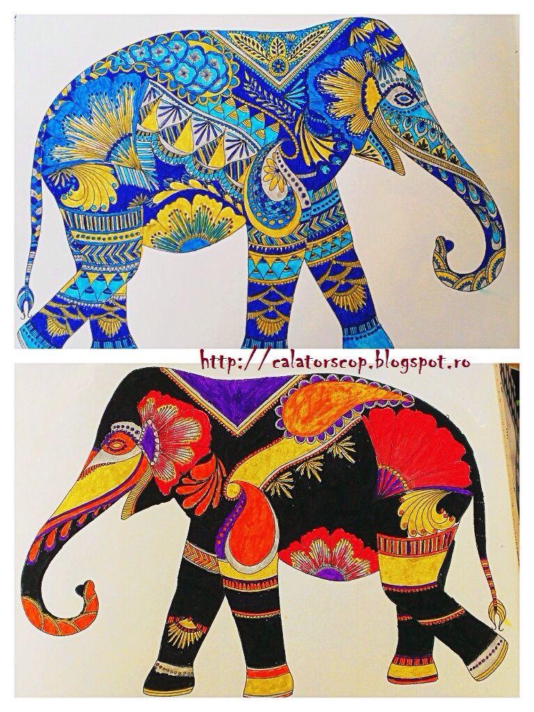 Blue elephant red and black elephant animal kingdom by millie marotta