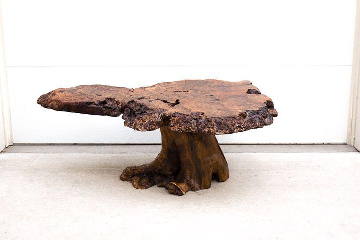 Mid Century Burl Wood Slab Coffee Table