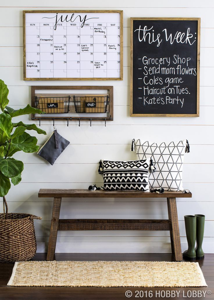 Living Room decor - rustic farmhouse style command center with - the living room center