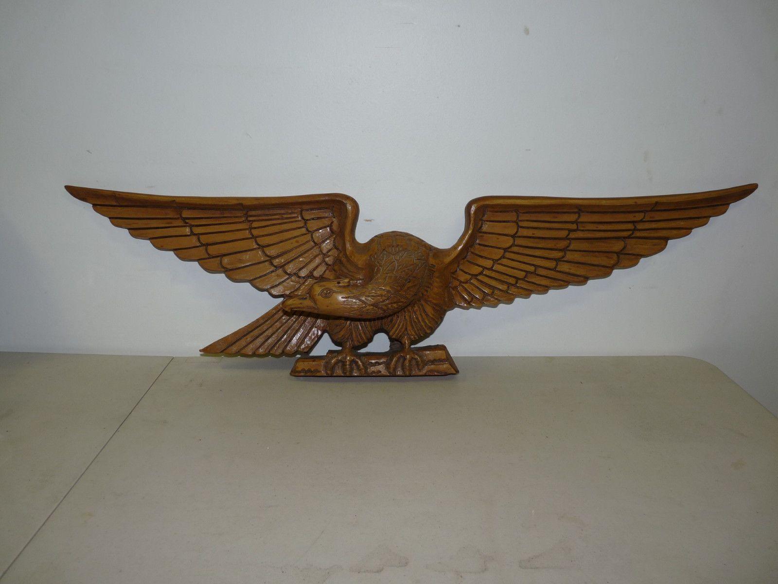 Vintage antique hand carved wooden eagle folk art figurine bellamy style ebay