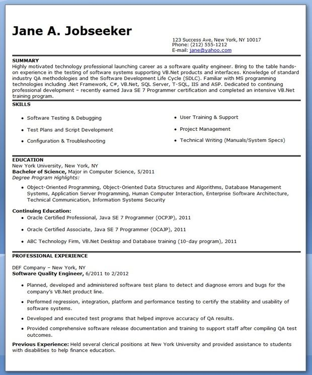 Quality Engineer Resume Template Creative Resume Design - build and release engineer resume