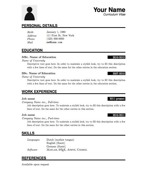 image result for simple cv format in word x pinterest simple formal resume template