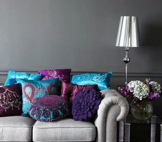 purple turquoise home - Google Search Home Decor Pinterest - grey and turquoise living room